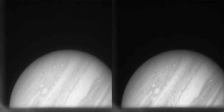 Side by side comparison of Jupiter imagery. One is the original, and the other is rendered by Blender.